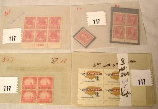 117: Plate Blocks-Air Lift, Lincoln Birth