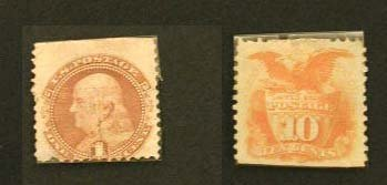 122: One Cent Franklin Buff-Ten Cent Yellow Shield Eagl