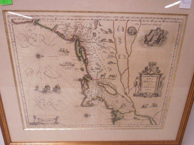 Framed Map of New Netherland - 2