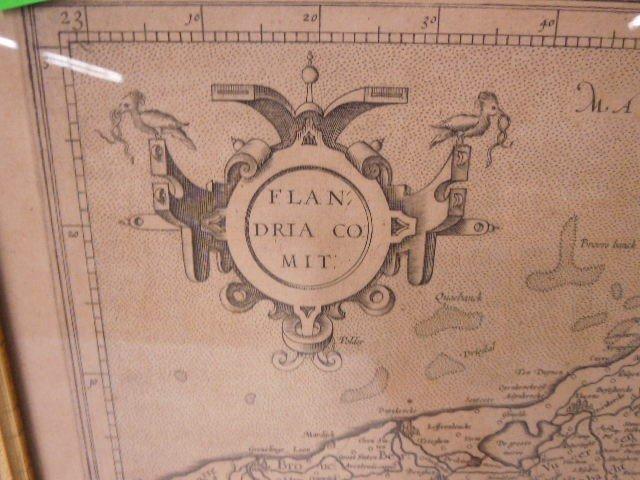 Framed of Map of Flandria - 3