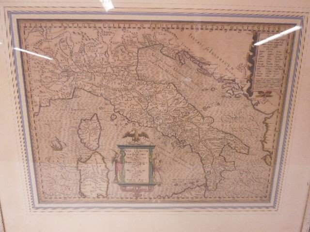 Framed Map Old Italy - 2