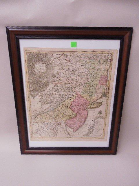Framed Map Penna, NJ & NY