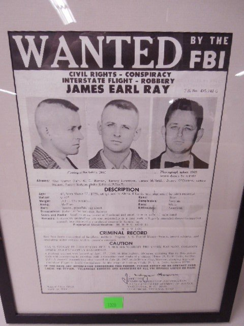 Framed James Earl Ray Wanted Poster - 2
