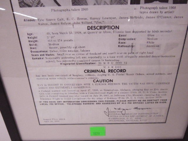 Framed James Earl Ray Wanted Poster - 4
