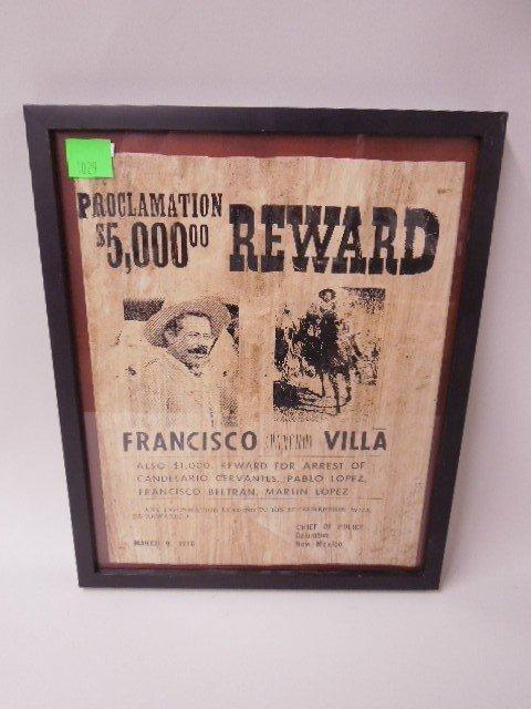 Framed Pancho Villa Wanted Poster