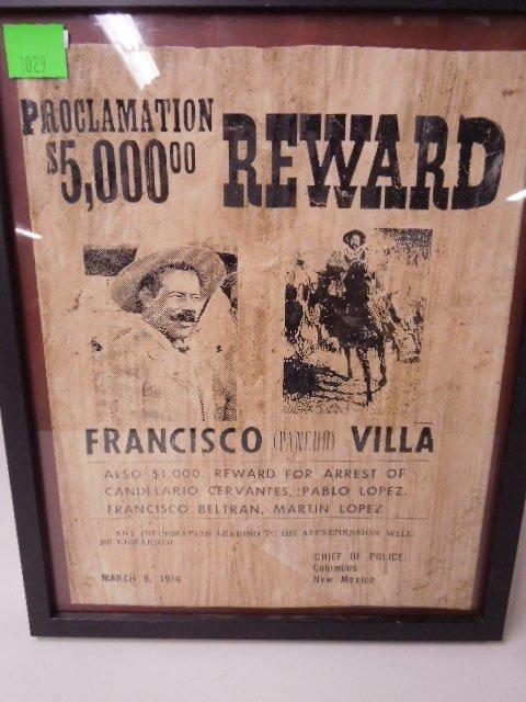 Framed Pancho Villa Wanted Poster - 2