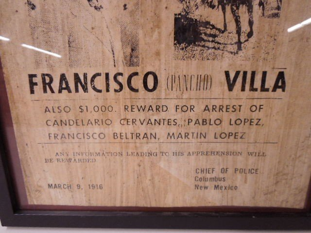 Framed Pancho Villa Wanted Poster - 3