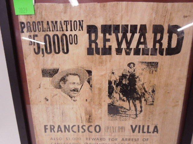 Framed Pancho Villa Wanted Poster - 4