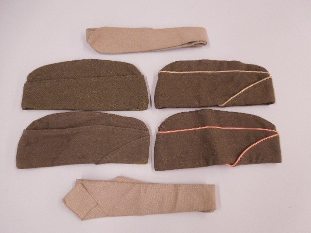 4 US Army WW Uniform Caps & 2 Ties