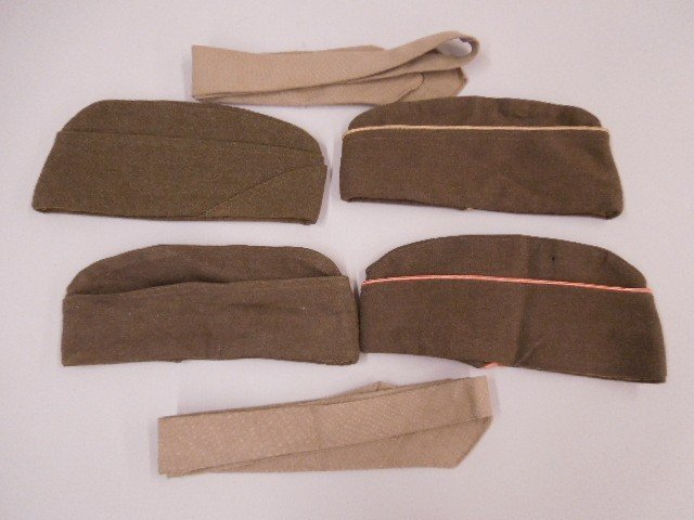 4 US Army WW Uniform Caps & 2 Ties - 2