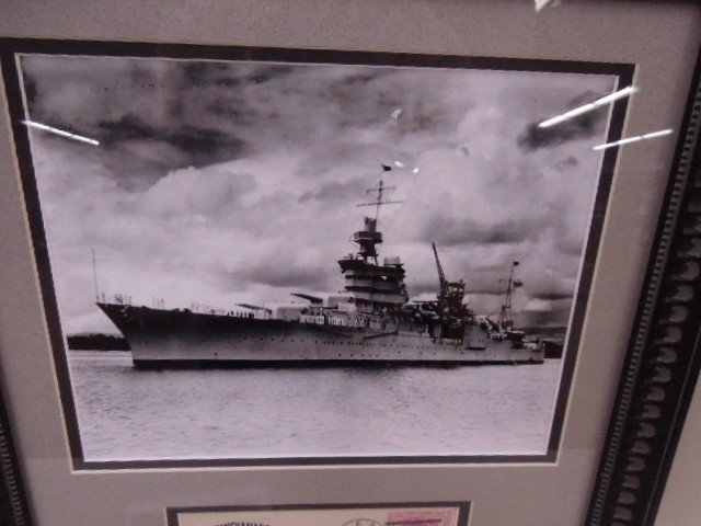 Framed U.S.s. Indianapolis Photo & Cover - 2