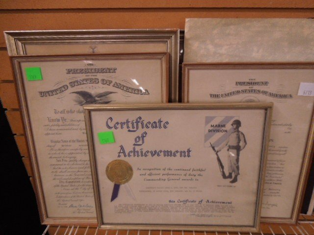 Lot of Military Certificates & Photo - 2