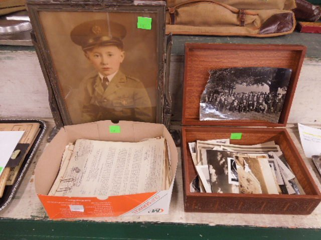 Box Vintage Assorted Military Photos & Documents