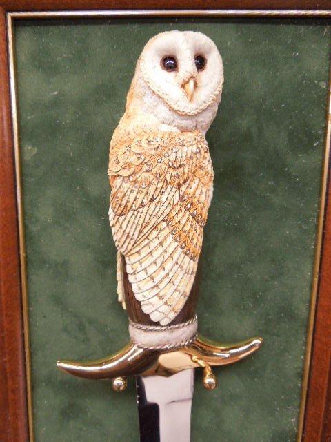 Franklin Mint Owl Knife w/Display Board