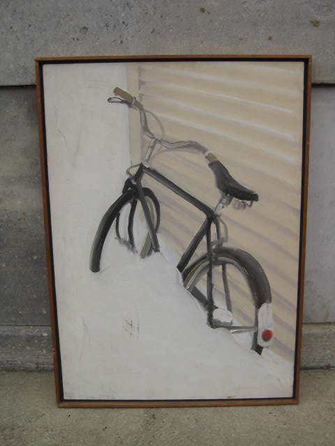Painting of a Raleigh in snow bank