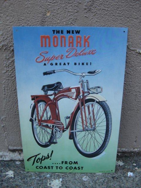 Reproduction Monark bicycle metal sign
