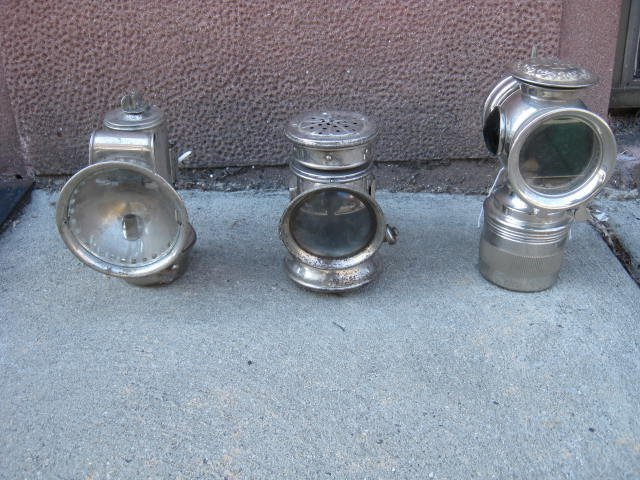 Lot of 3 antique bicycle lamps
