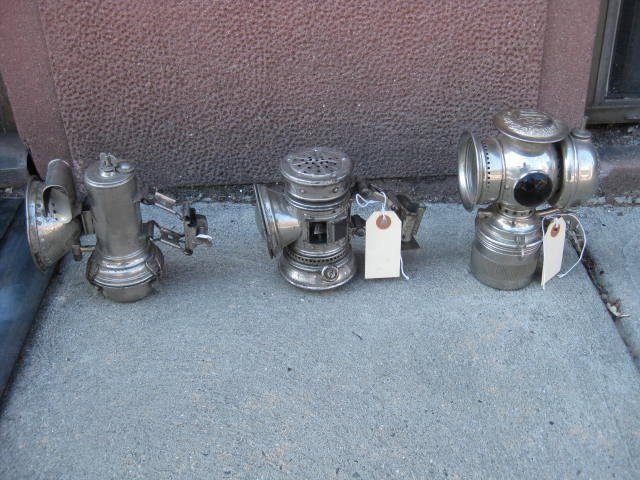 Lot of 3 antique bicycle lamps - 3