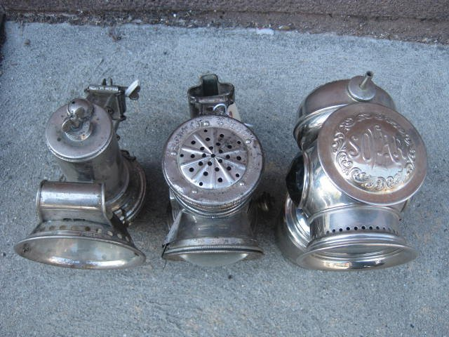 Lot of 3 antique bicycle lamps - 4