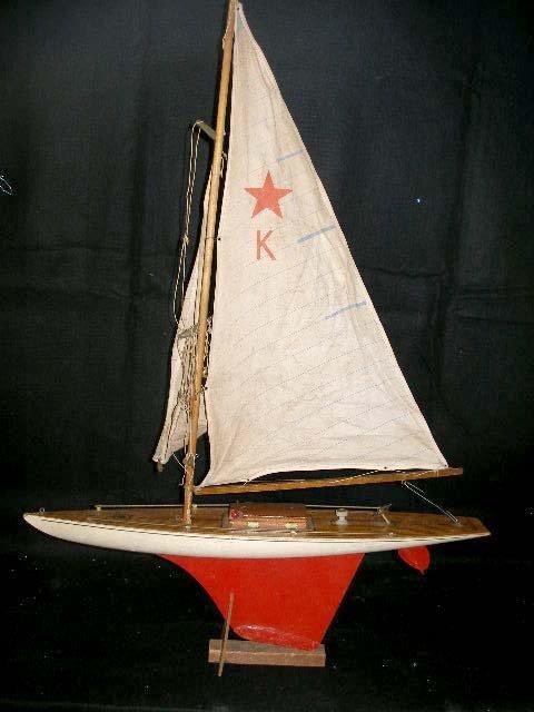 1008: Wooden Model Sailboat