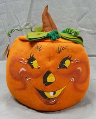 1021: Annalee Thorndike felt pumpkin Halloween decorati