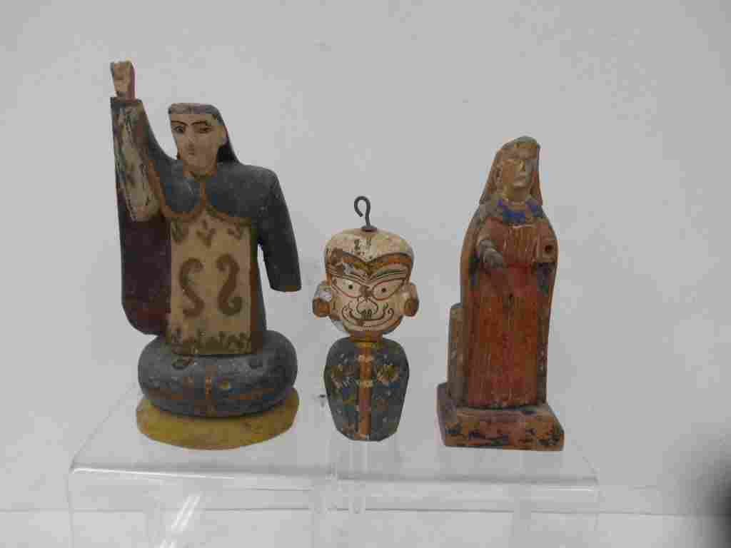 Spanish Colonial Polychromed Wood Figures