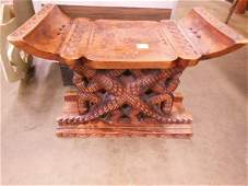 Hand carved African wood stool made in Ghana