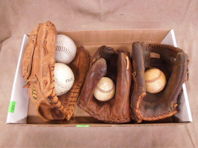 3 Vintage Autograph Style Baseball Gloves