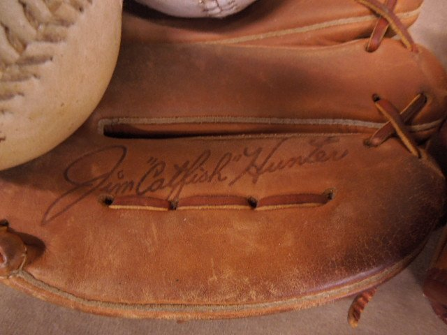 3 Vintage Autograph Style Baseball Gloves - 3