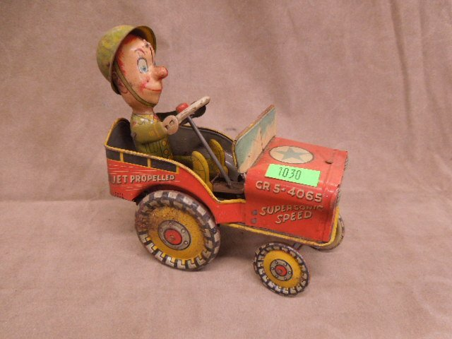 Tin Wind Up Army Jeep