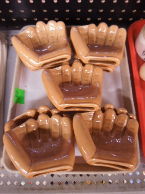 Pottery Baseball Glove Ashtrays