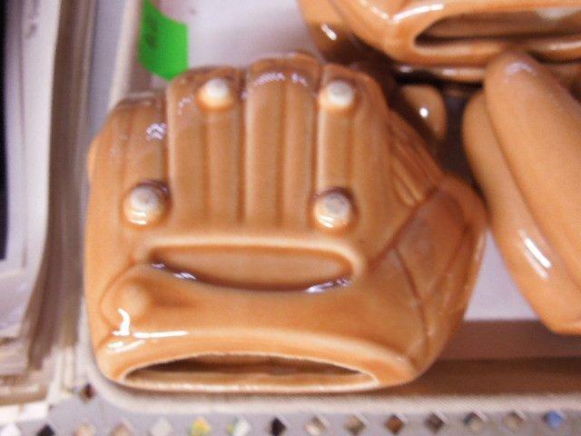Pottery Baseball Glove Ashtrays - 2