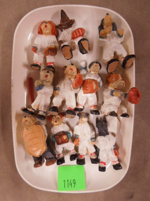 1930's - 1940's Wood Baseball Dog Figures