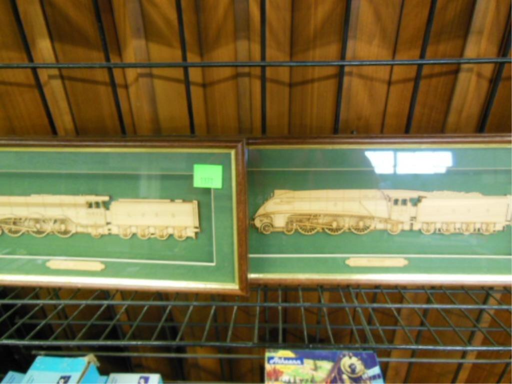 2 Framed Wood Train Cut-Outs