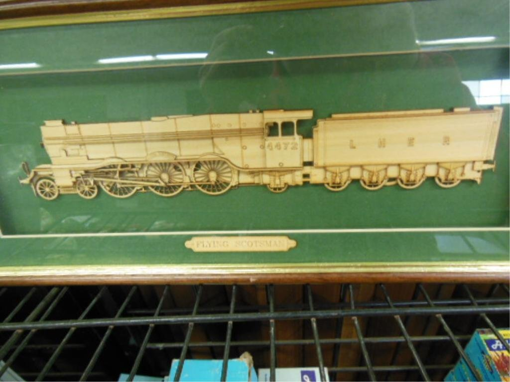 2 Framed Wood Train Cut-Outs - 3