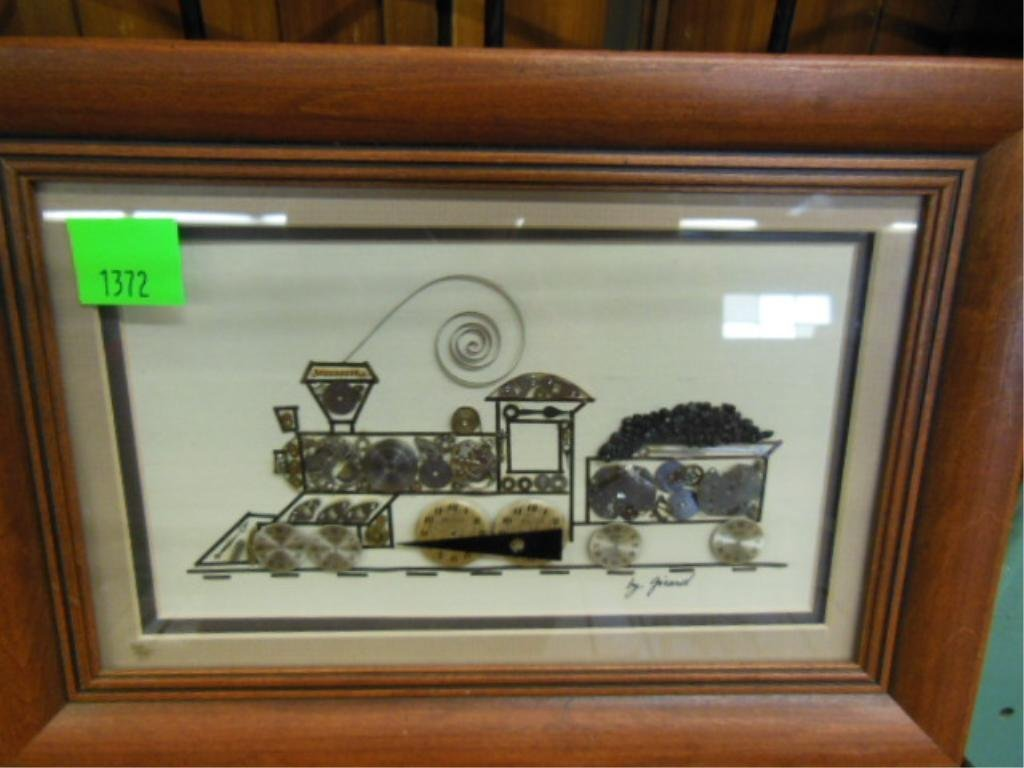 Framed Clock Works Train by Girard