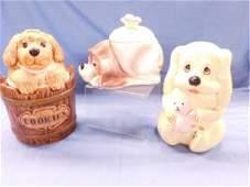 3 Dog Ceramic Cookie Jars