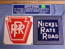 3 Porcelain Railroad Signs