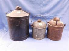 3 Vintage Unmarked RR Oil  Water Cans