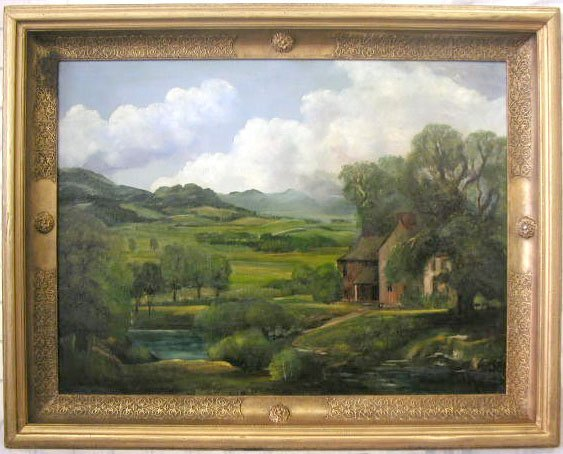 "1008: John Lillie, signed, o/c, ""Vermont Farm""."