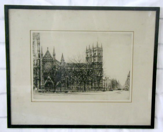 1010: Fred [erick] A. Farrell, signed etching, Westmins