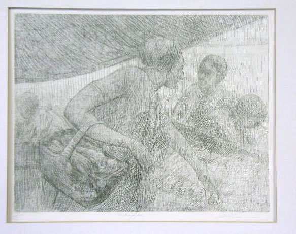 1012: Altman (?), signed, 19 5/8 h x 25 3/4 w, etching