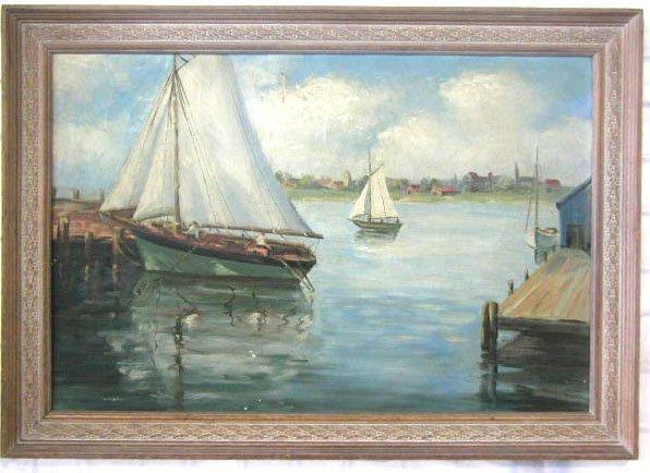 1015: M. Barton, signed, o/c, Sailboats in Harbor.