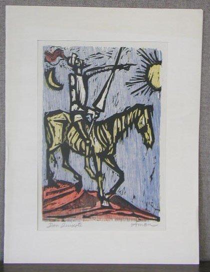 1017: Irving Amen, signed, 12 1/2 h x 9 1/2 w, woodcut