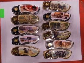 11 Franklin Mint Labrador Pocket Knives