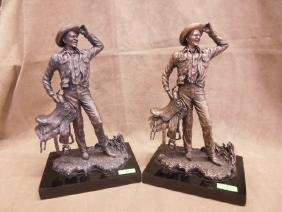 2 Franklin Mint Ronald Reagan Cowboy Figurines