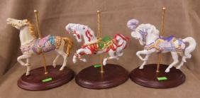 3 Franklin Mint Porcelain Carousel Horse Figurines