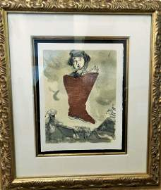 Marc Chagall - Comme Un Barbare Woodcut 1968 Edition of