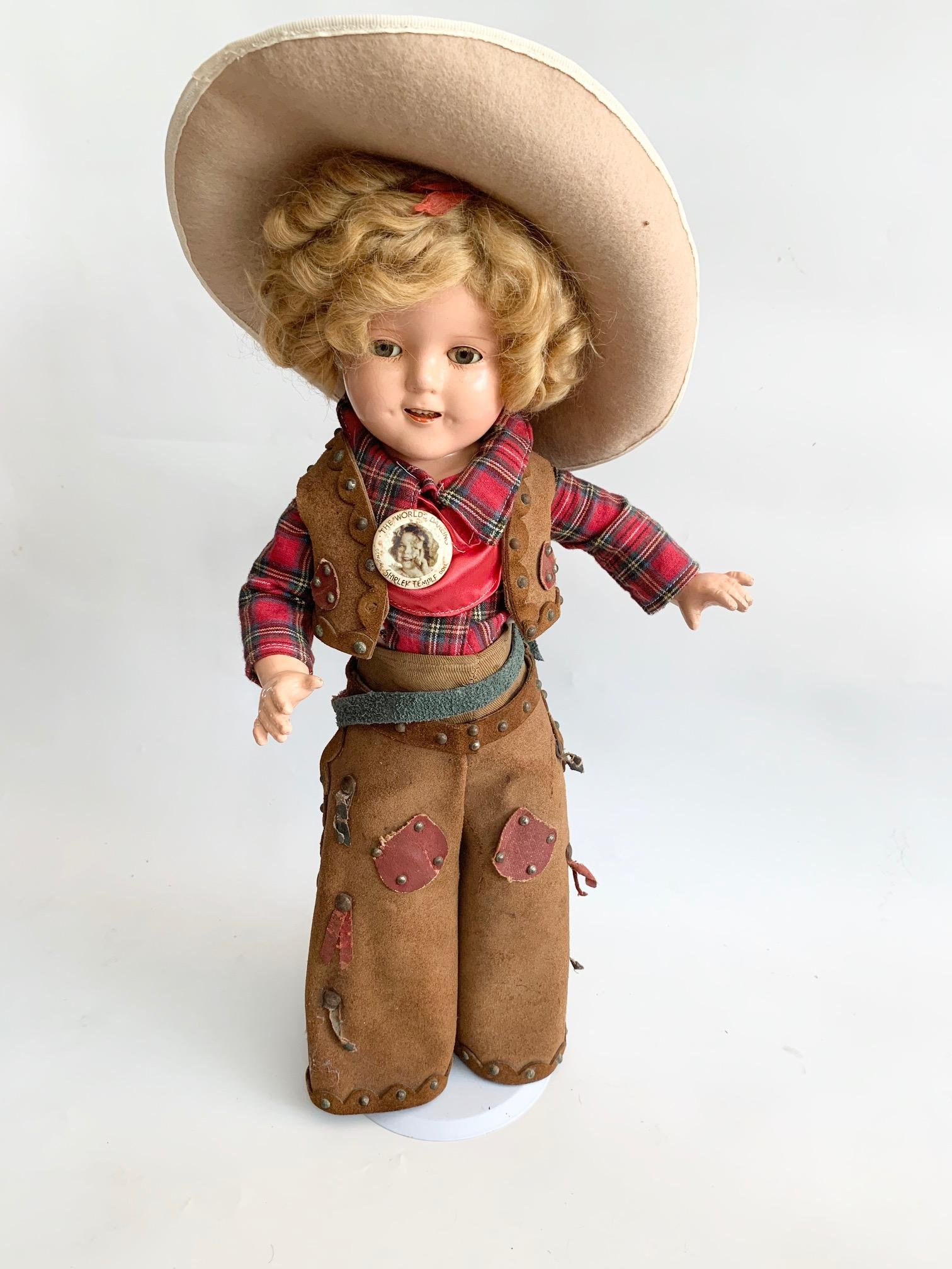 """B5: WOW Shirley Temple 17"""" Composition original Cowgirl"""