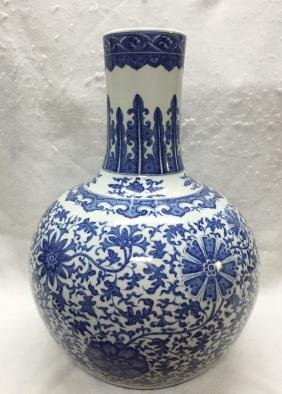 CHINESE PORCELAIN BLUE AND WHITE TIANQIU VASE